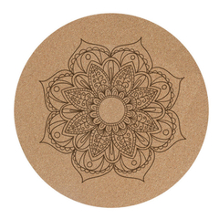 Factory Custom Printed Natural Cork Rubber Round Meditation Printed Yoga Mat